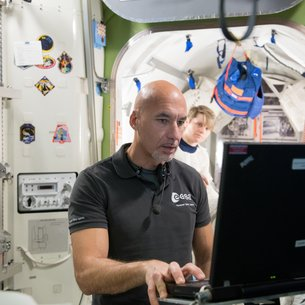 ESA Astronaut Luca Parmitano training at the Johnson Space Center