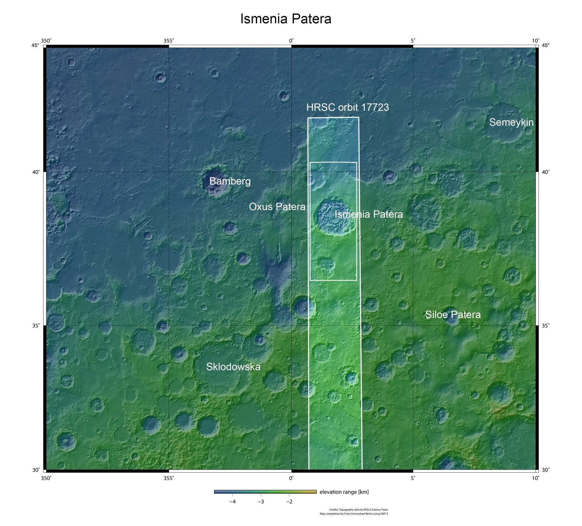 Ismenia Patera in context within Arabia Terra