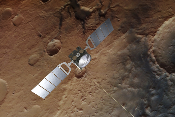The background is based on an actual image of Mars taken by the spacecraft's high resolution stereo camera.