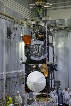 Sentinel-3B being mated with the Rockot adapter