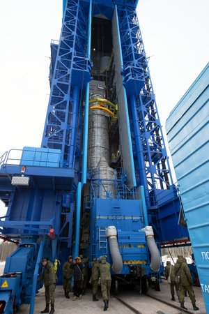 Sentinel-3B hoisted up launch tower