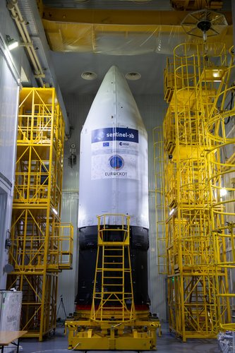 Sentinel-3B rocket upper stage standing proud