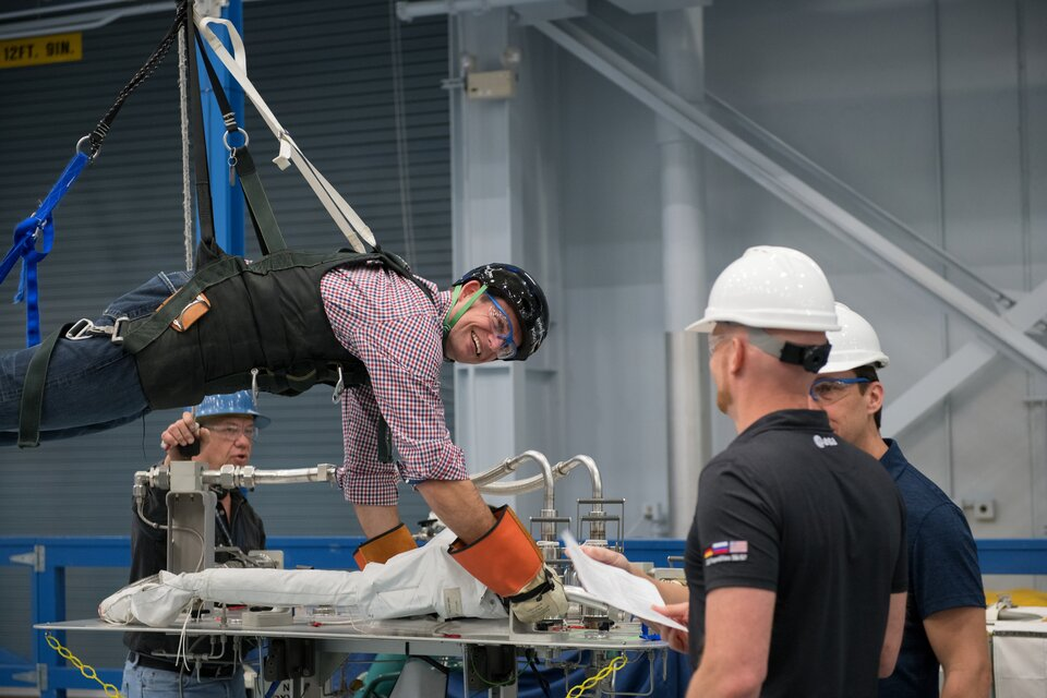 ESA astronaut Andreas Mogensen training for spacewalks