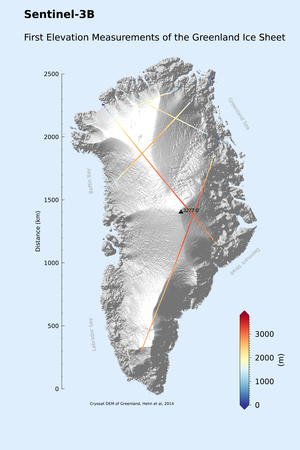Greenland ice height from Sentinel-3B