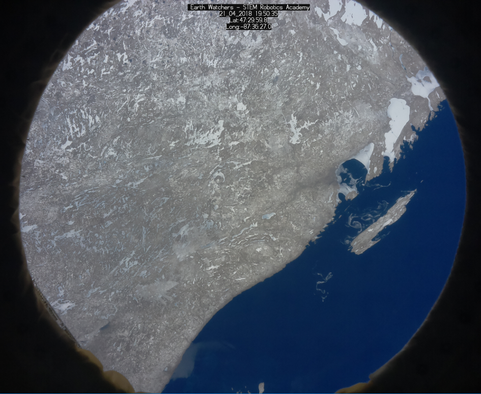 Students from 'The Earth Watchers' team captured this image that shows snow and ice in Lake Superior, Canada!