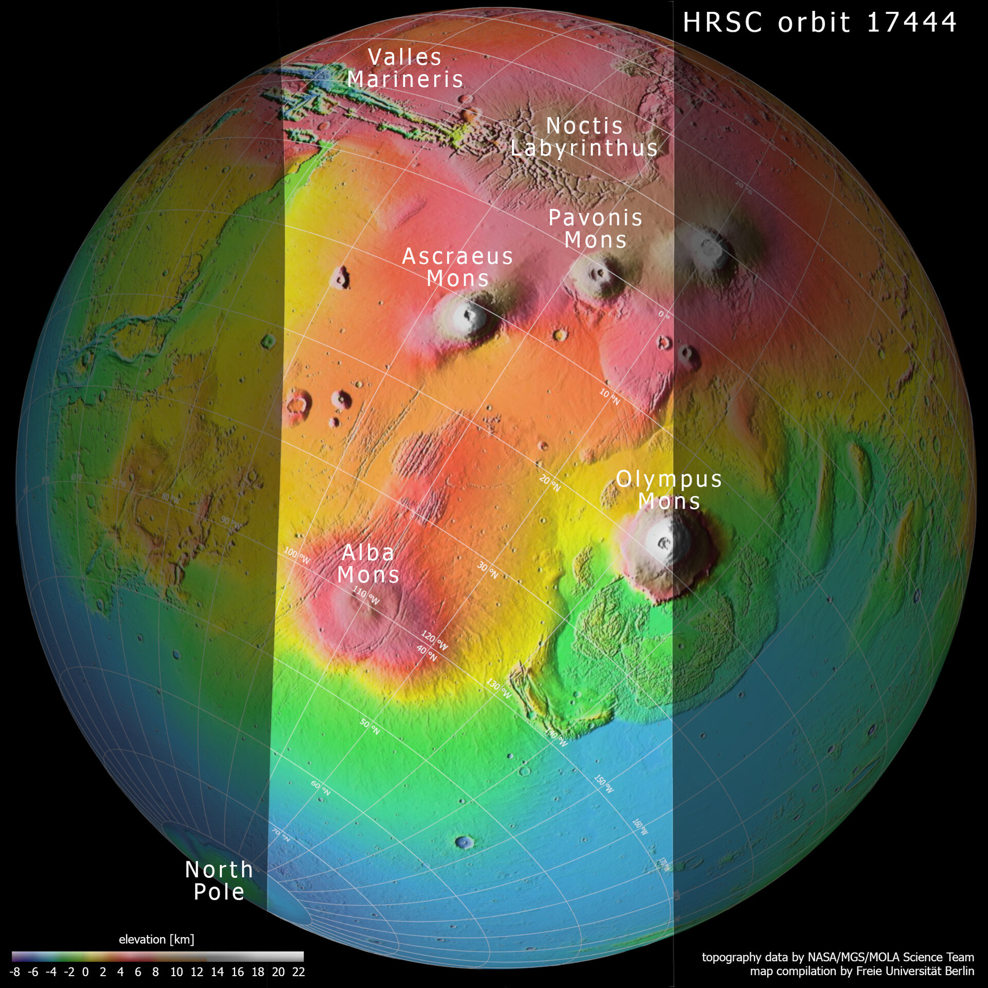 Topography of Tharsis region on Mars