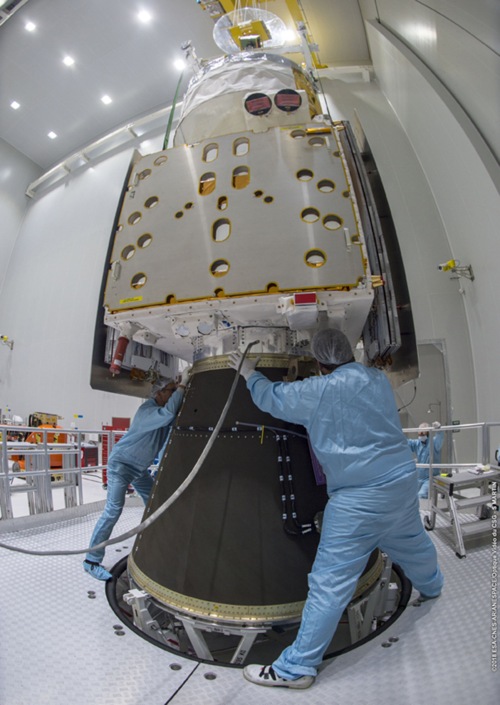 Checking that Aeolus fits onto the rocket cone