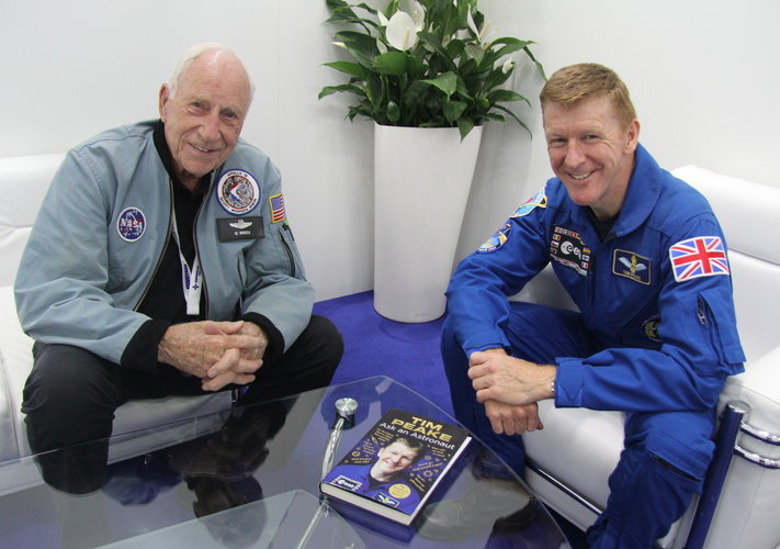 ESA astronaut Tim Peake with Apollo 15 astronaut Al Worden