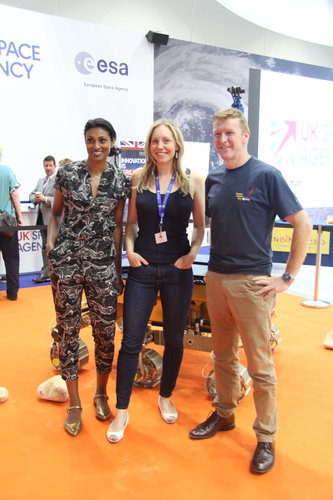 ESA astronaut Tim Peake, with Suzie Imber and Dr Shini Somara
