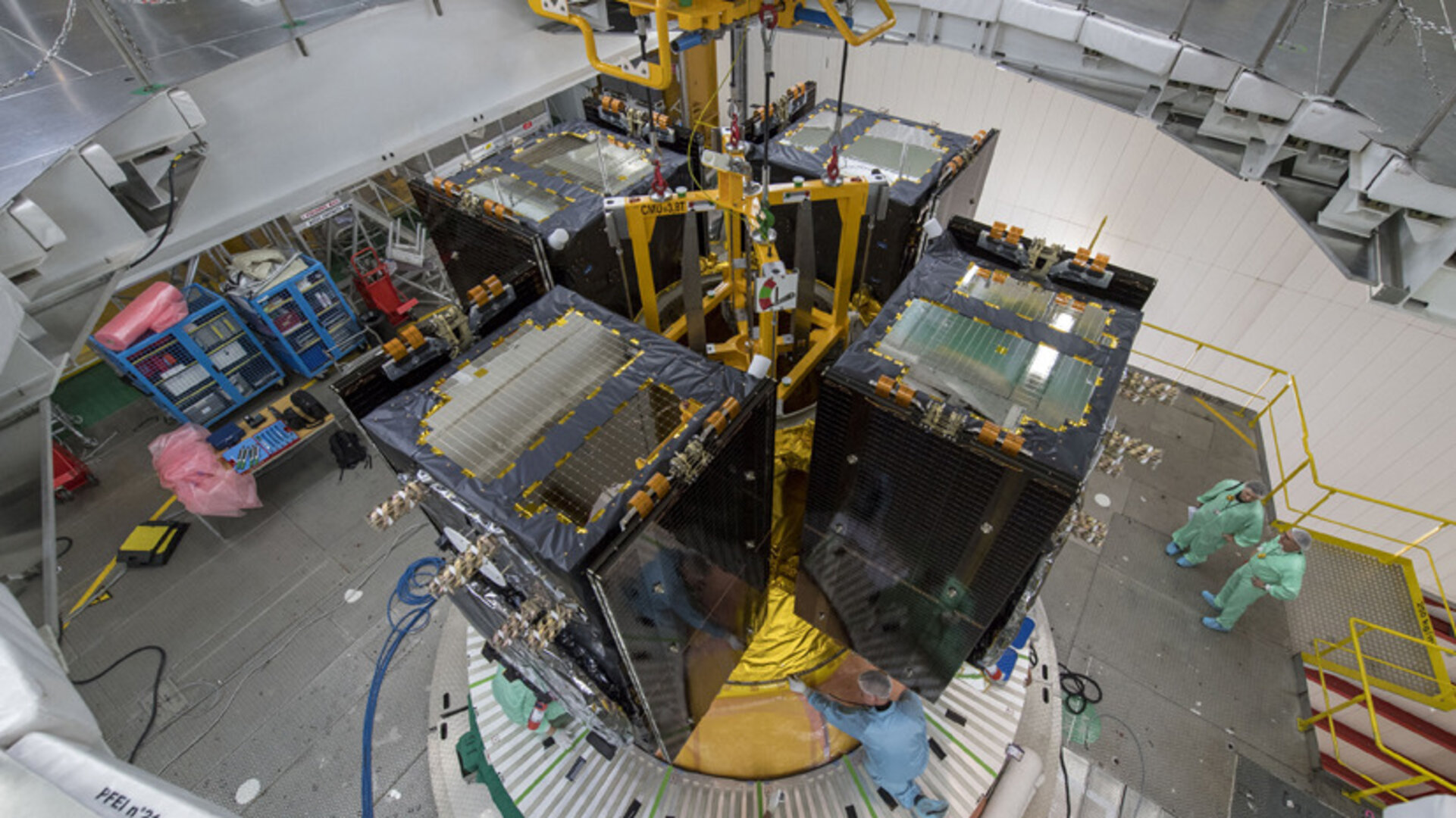 Galileo quartet placed atop Ariane 5