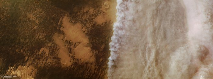 Dust storm front, northern latitudes of Mars (ESA Mars Express)
