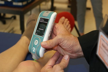The MyotonPRO device measures muscle tension