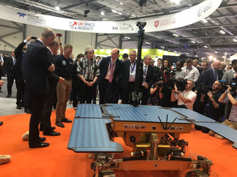 UK PM Theresa May with ESA Exomars Rover at Farnborough Airshow 2018