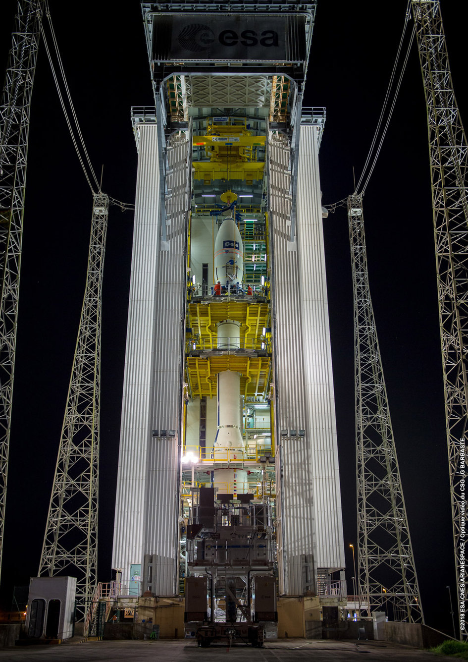 Aeolus in the launch tower