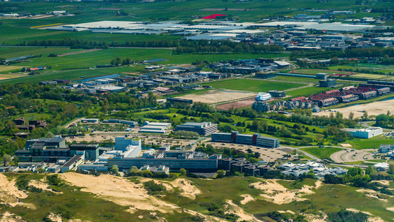 Dune-side aerial view of ESA's ESTEC technical centre