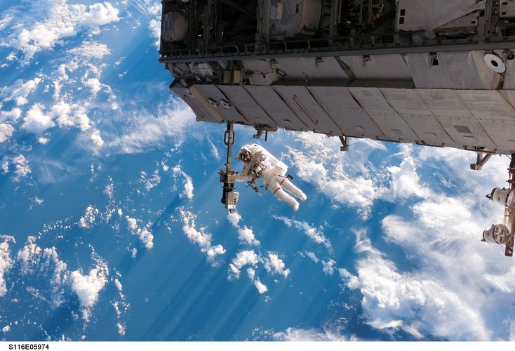 Robert Curbeam during the first spacewalk of the STS-116 mission