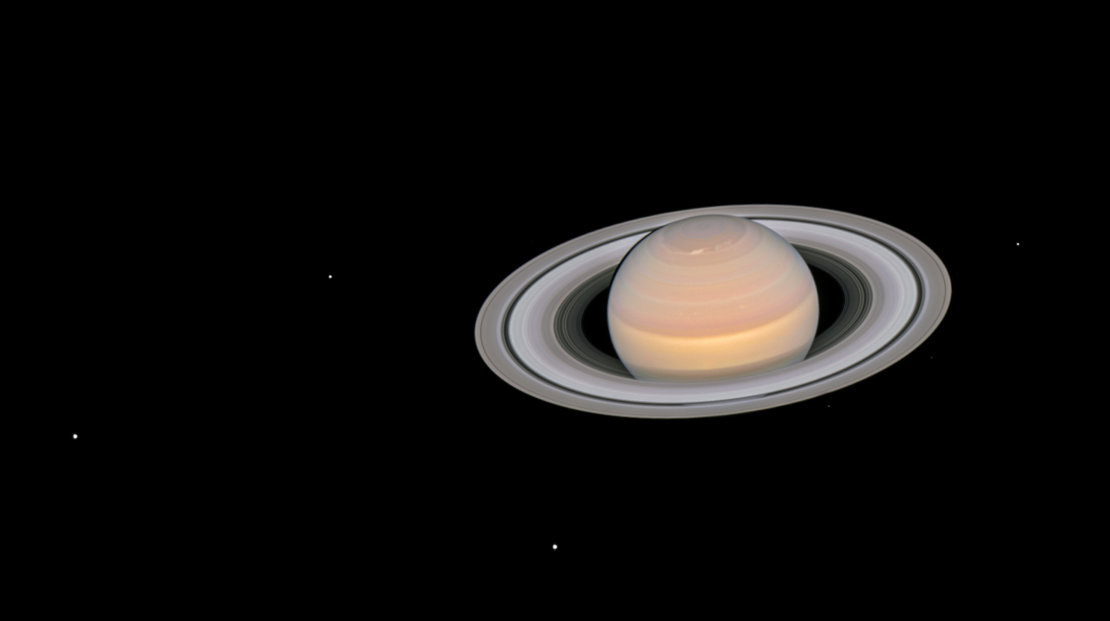 Saturn and its moons at opposition