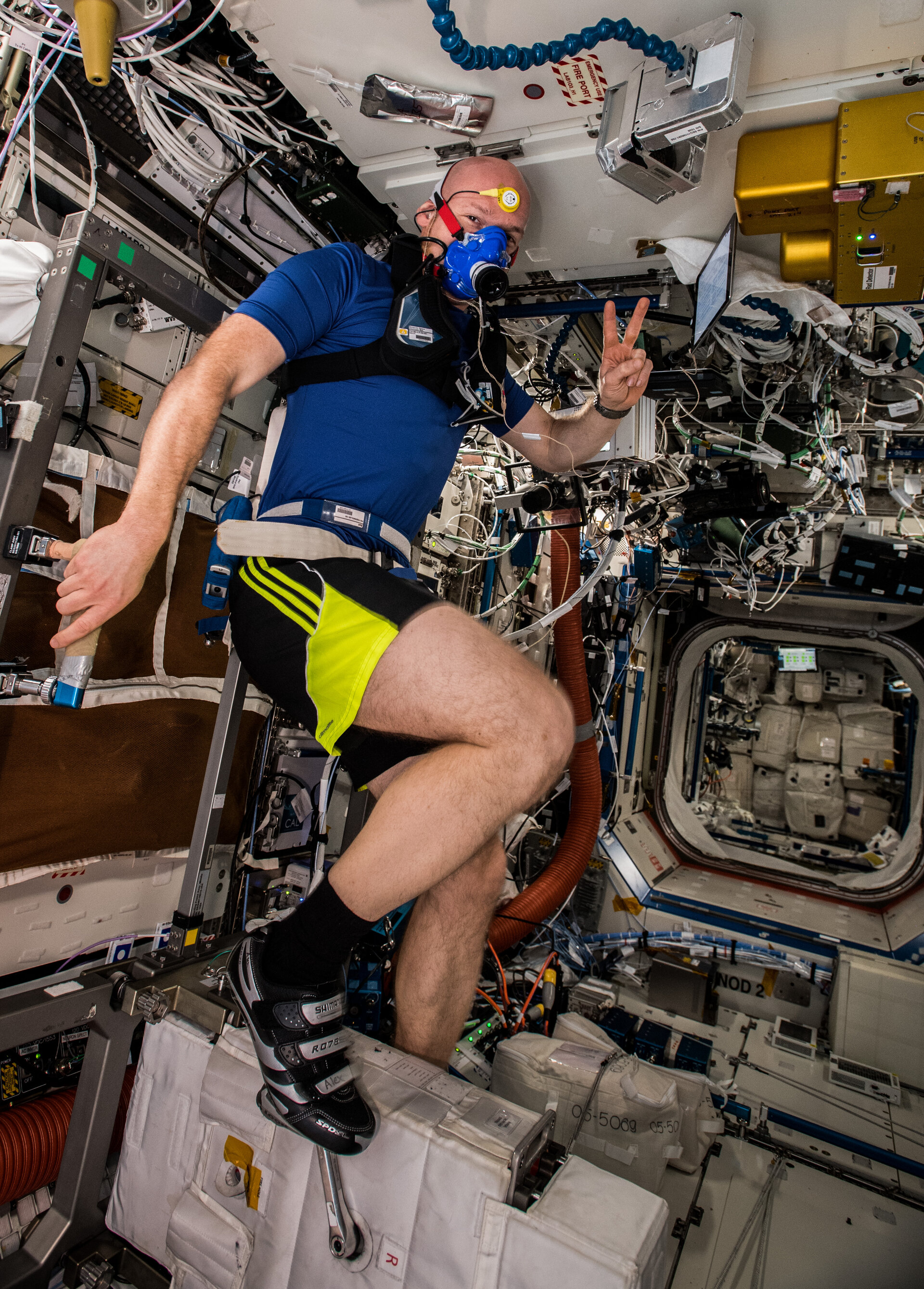 Alexander Gerst exercising on Space Station