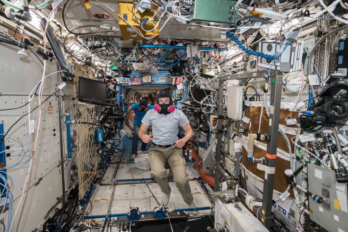 Alexander during emergency training on the Space Station
