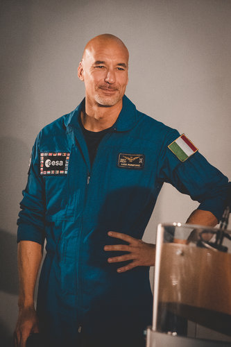 Luca Parmitano during the unveiling of his second mission name and logo