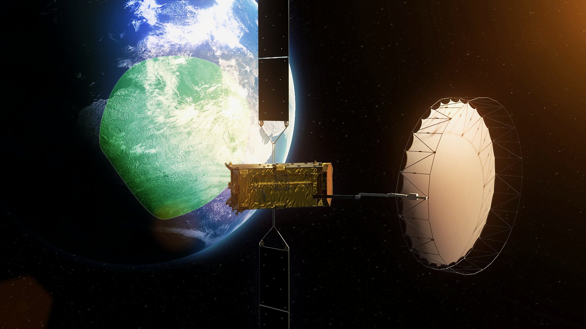 Alphasat broadcasting from geostationary orbit