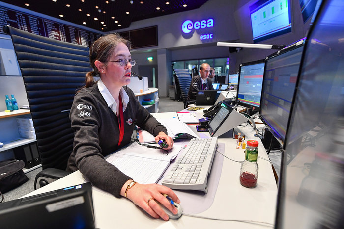 Spacecraft Operations Manager Elsa Montagnon in the main control room at ESOC for the launch of BepiColombo, 20 October 2018