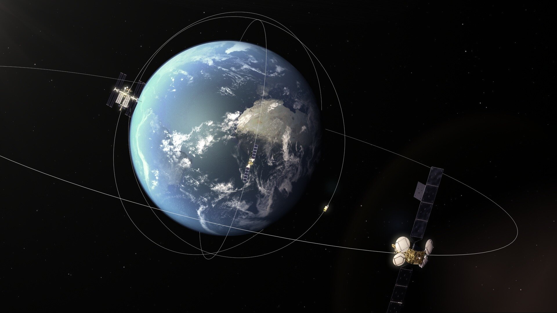 Geostationary EDRS-A over three lower orbiting satellites