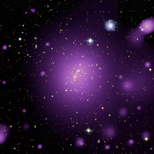 Hot X-ray glow from massive cluster of galaxies
