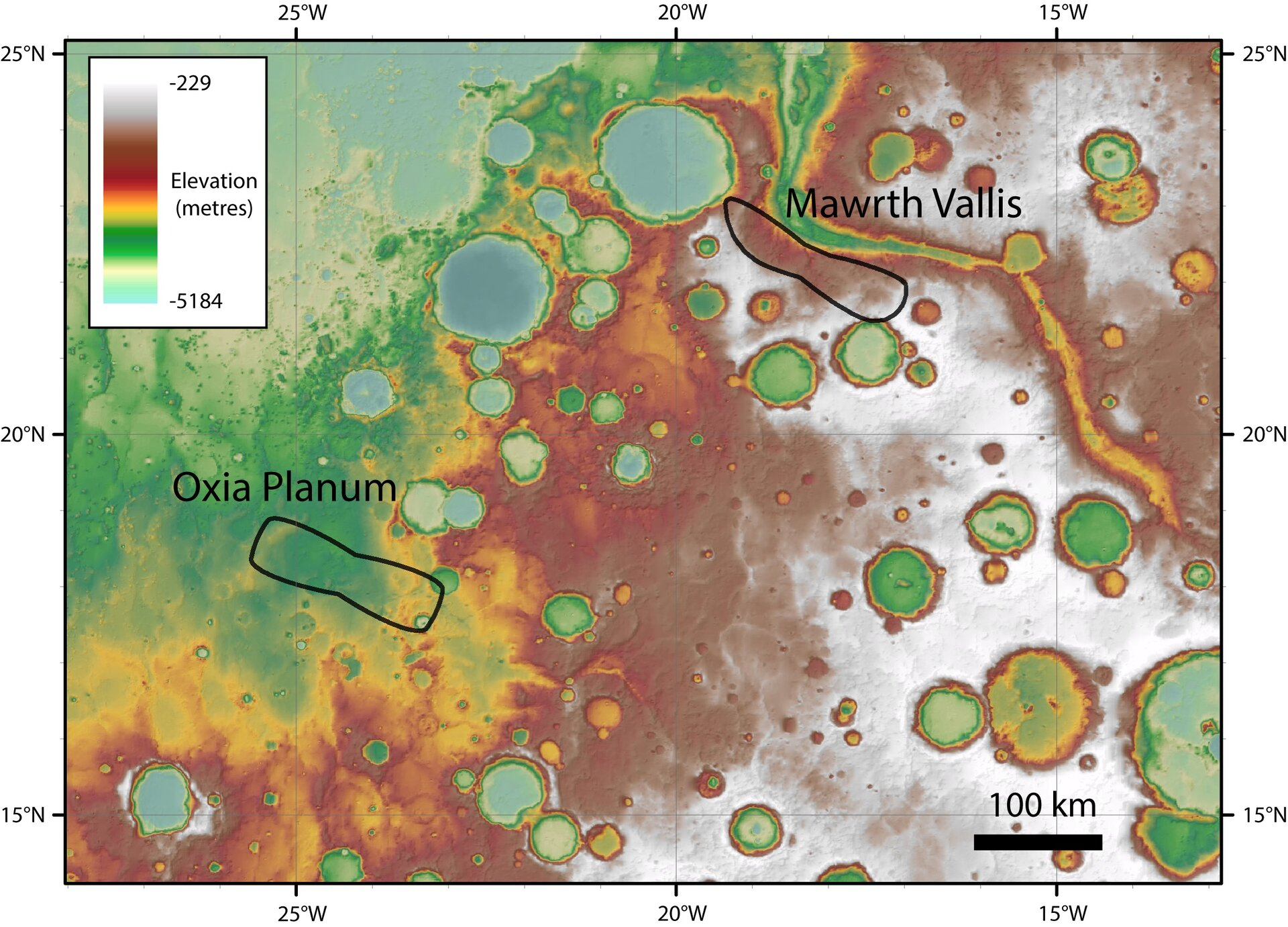 ExoMars landing site candidates – elevation