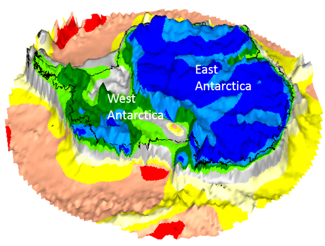GOCE map of Antarctica on bedrock topography