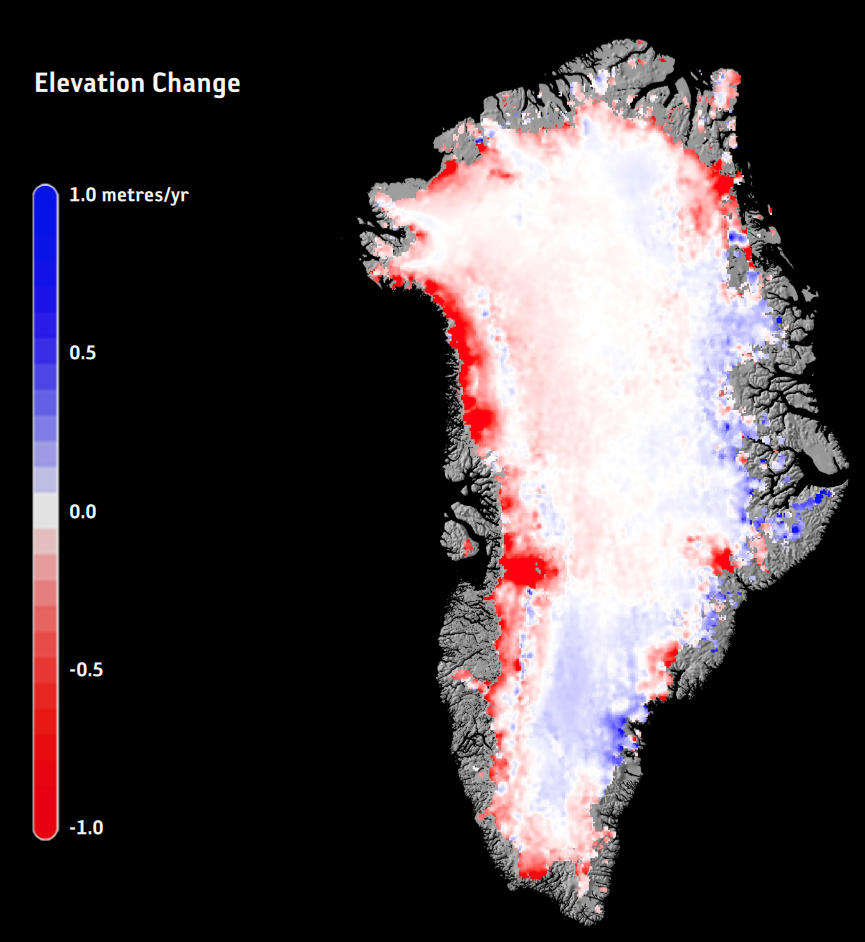 Greenland ice change using a 25-year record of ESA data