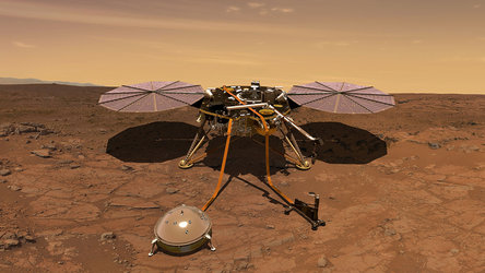 NASA's InSight lander operating on the surface of Mars