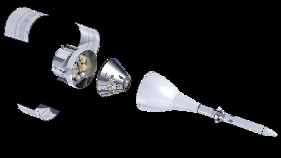 Elementi di Orion con carenature a getti d'acqua con adattatore per veicoli spaziali
