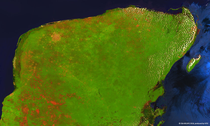 Proba-V images the Yucatán peninsula