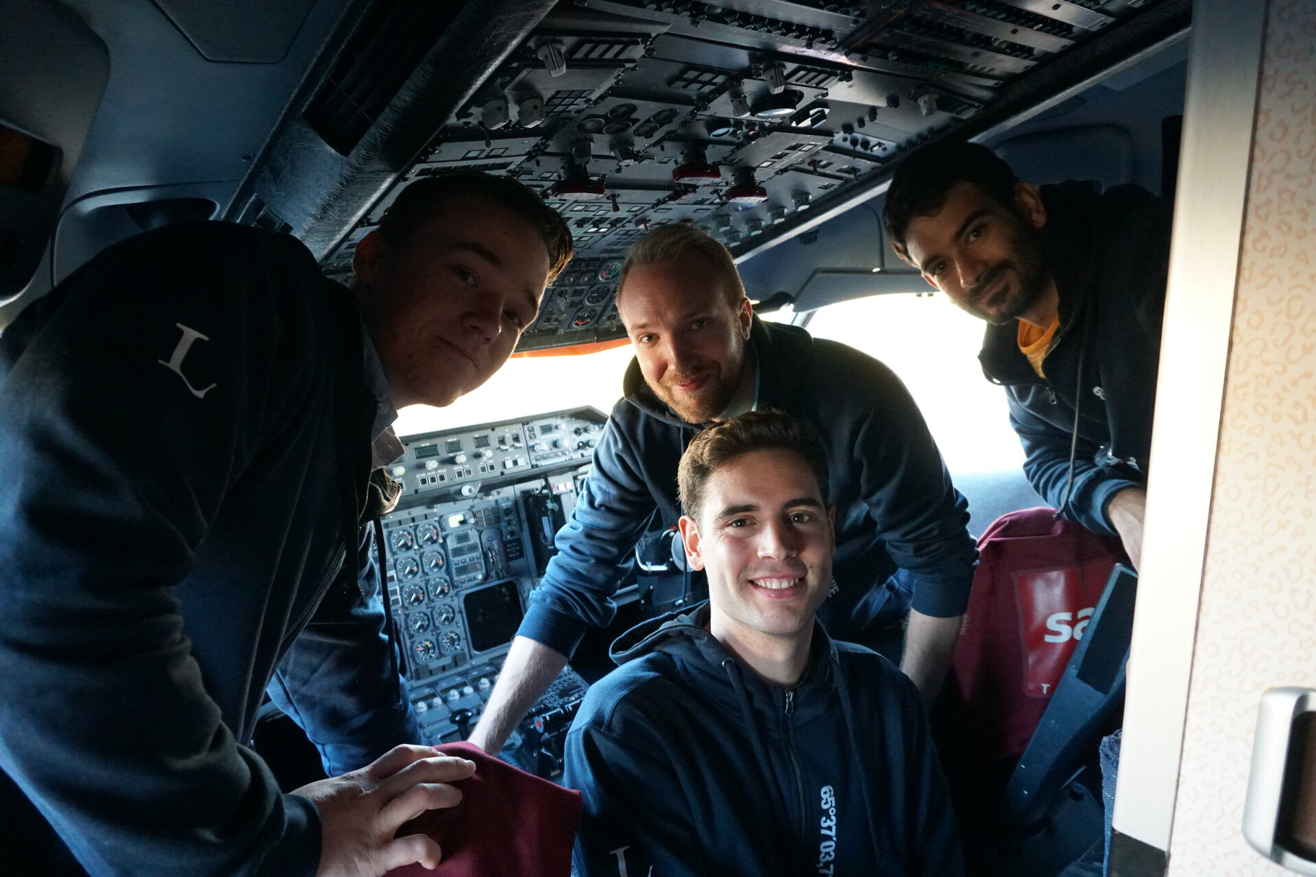 Students in cockpit