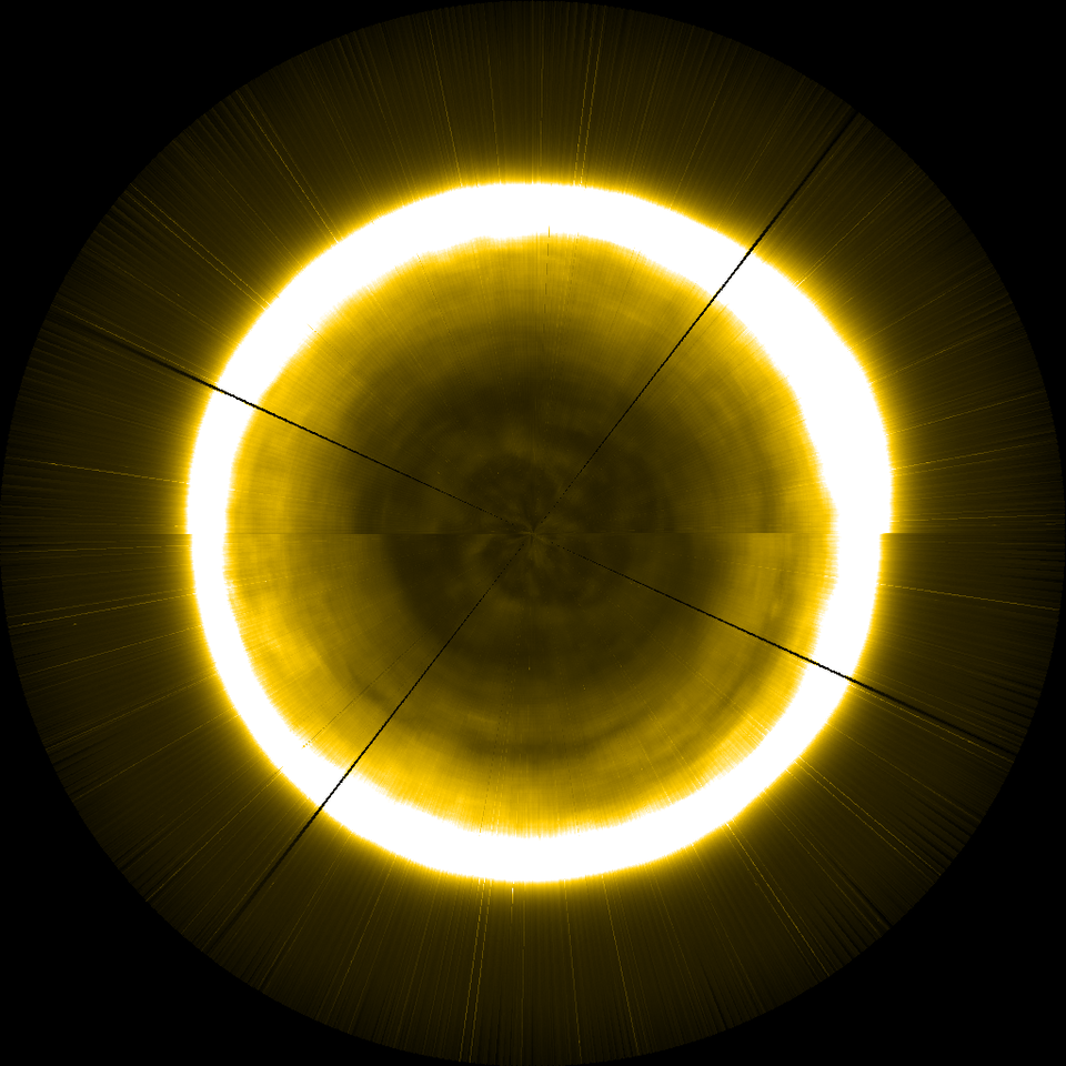 This artificial image of the Sun's north pole was extrapolated using Proba-2 observations of the solar atmosphere