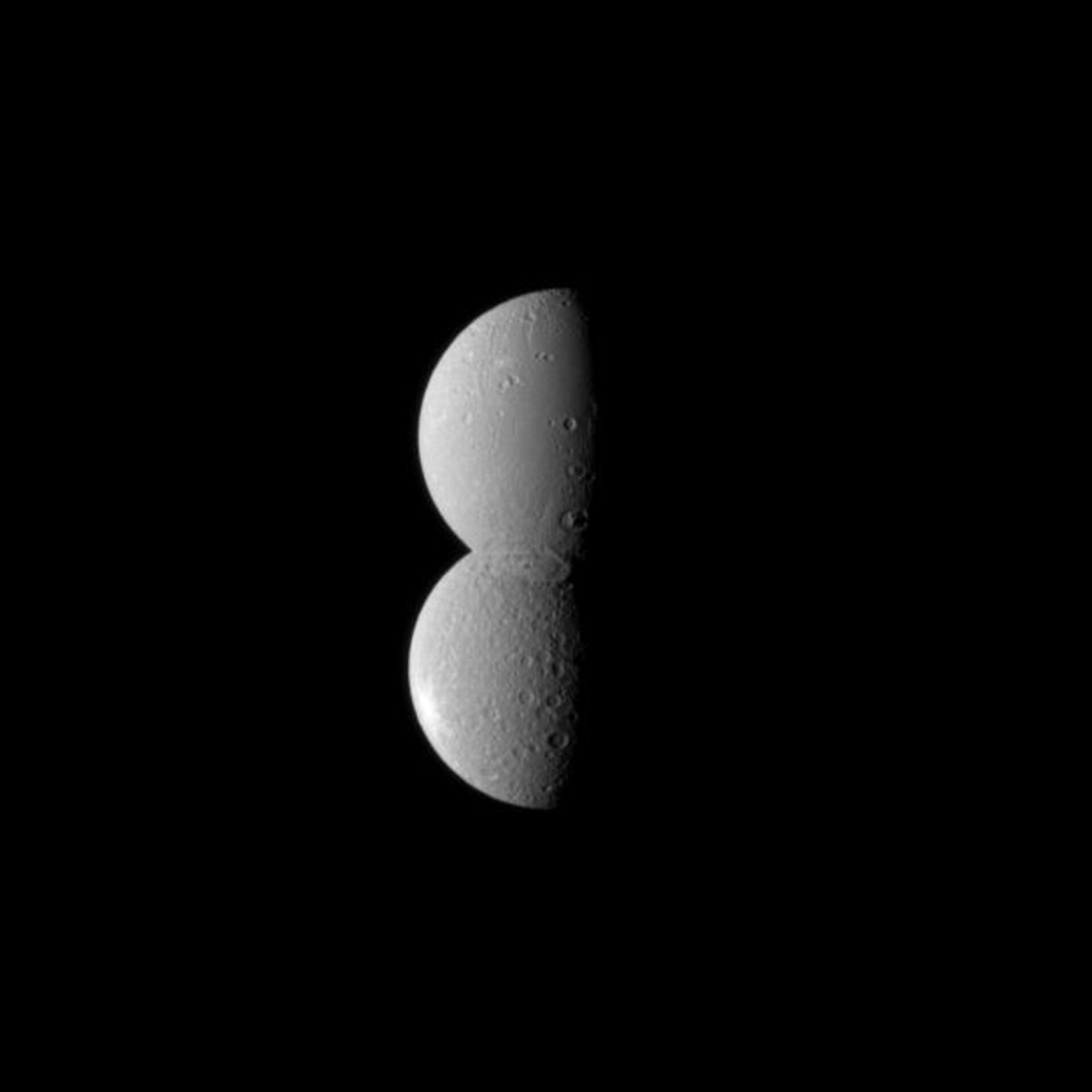 Dione and Rhea appear as one