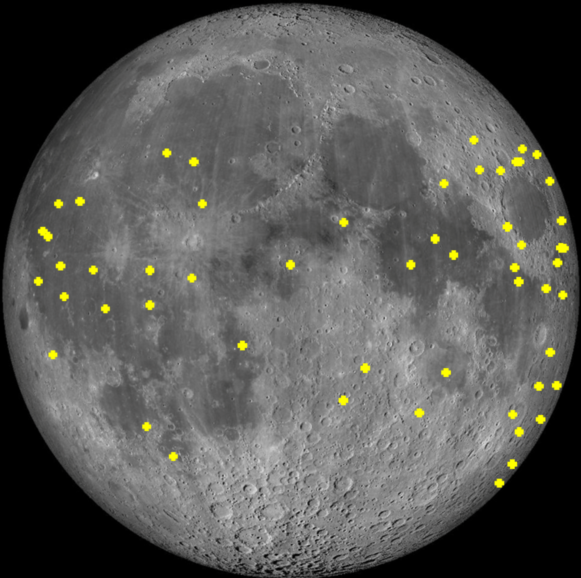 Locations of lunar impact flashes detected by the NELIOTA project