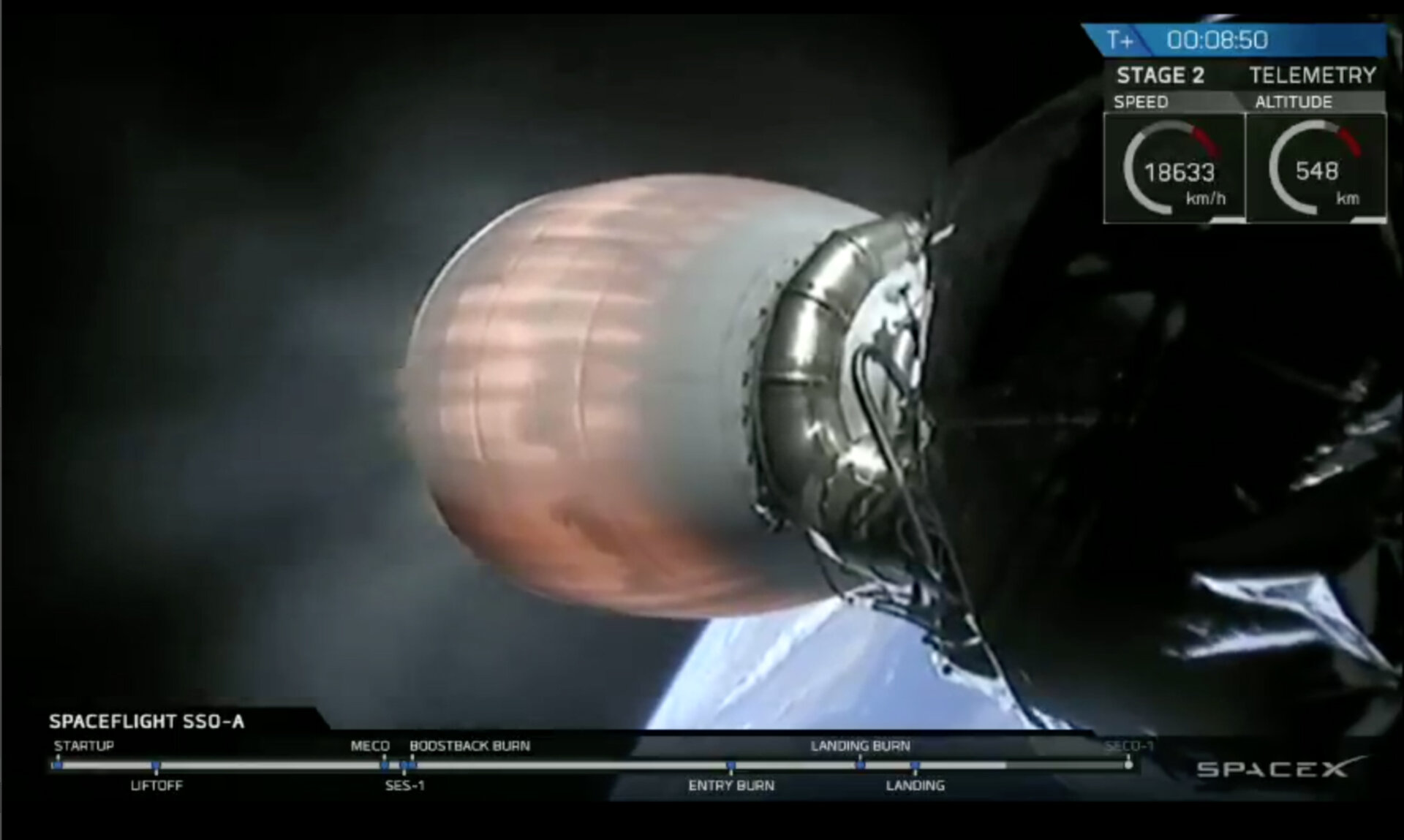 Second stage of the SpaceX Falcon9 rocket