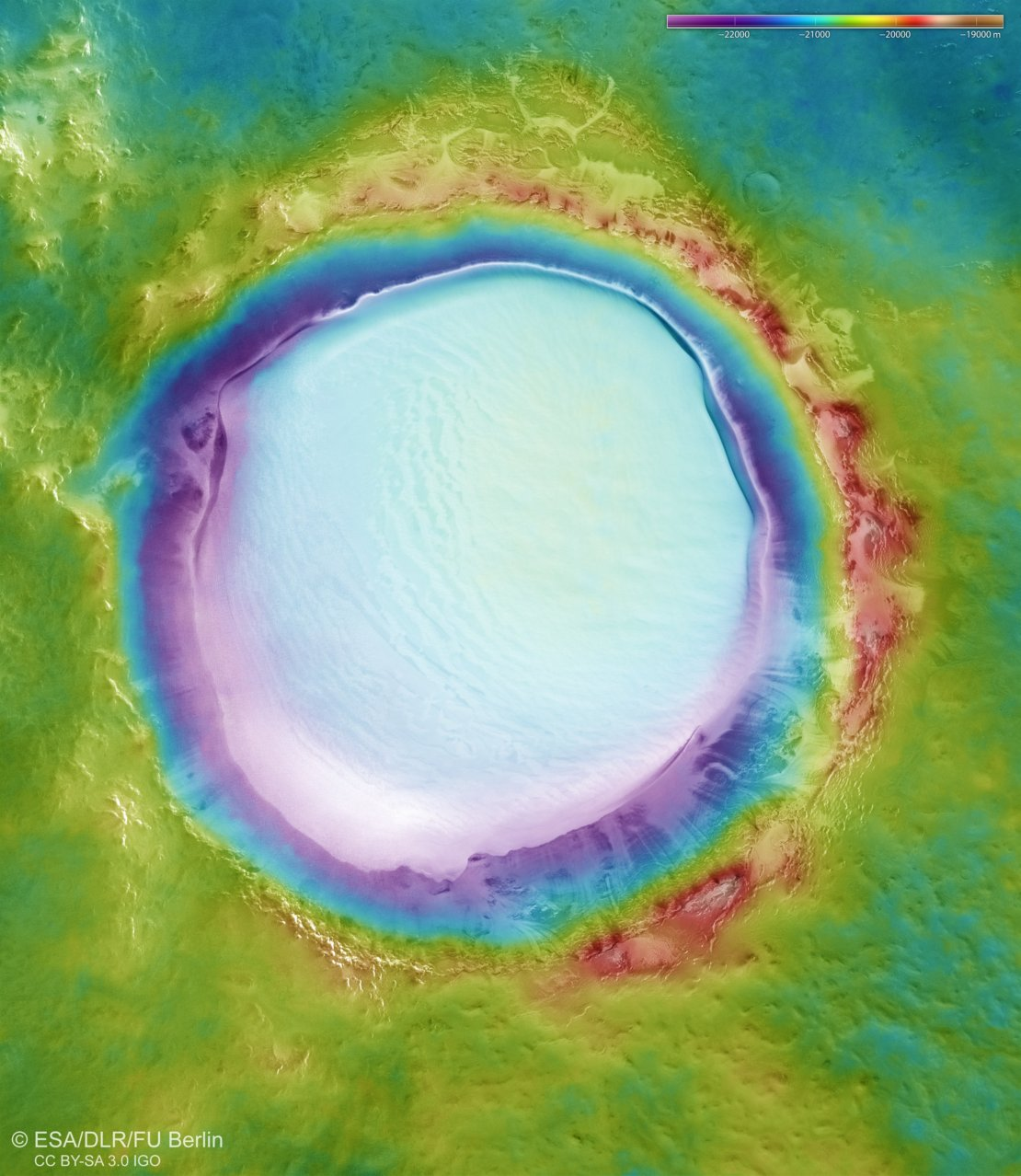 Topography of Korolev crater