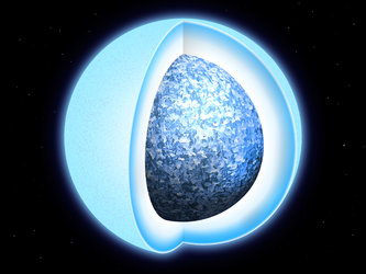 Artist's impression of crystallisation in white dwarf