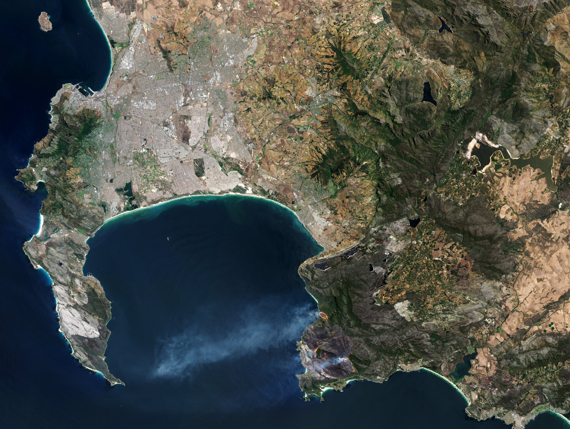 Fires in South Africa's Western Cape, which often occur during the dry summer months and are exacerbated by drought. Satellites can be used to spot vulnerable areas.