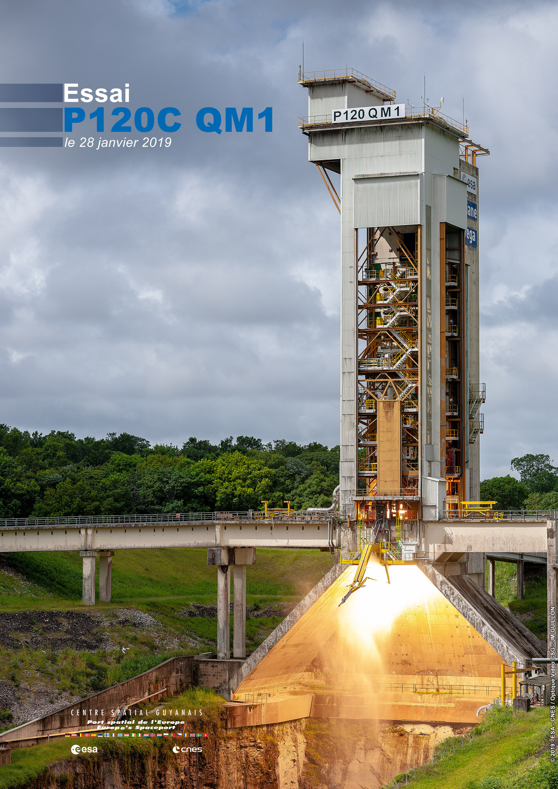 Hot firing of P120C solid rocket motor for Vega-C