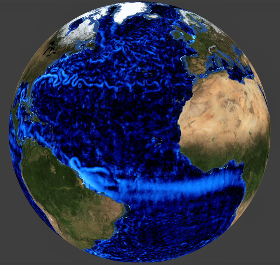 Simulated ocean surface currents, as would have been expected from ESA's SKIM ex-candidate mission. The satellite would have carried brand-new technology to offer more accurate measurements.