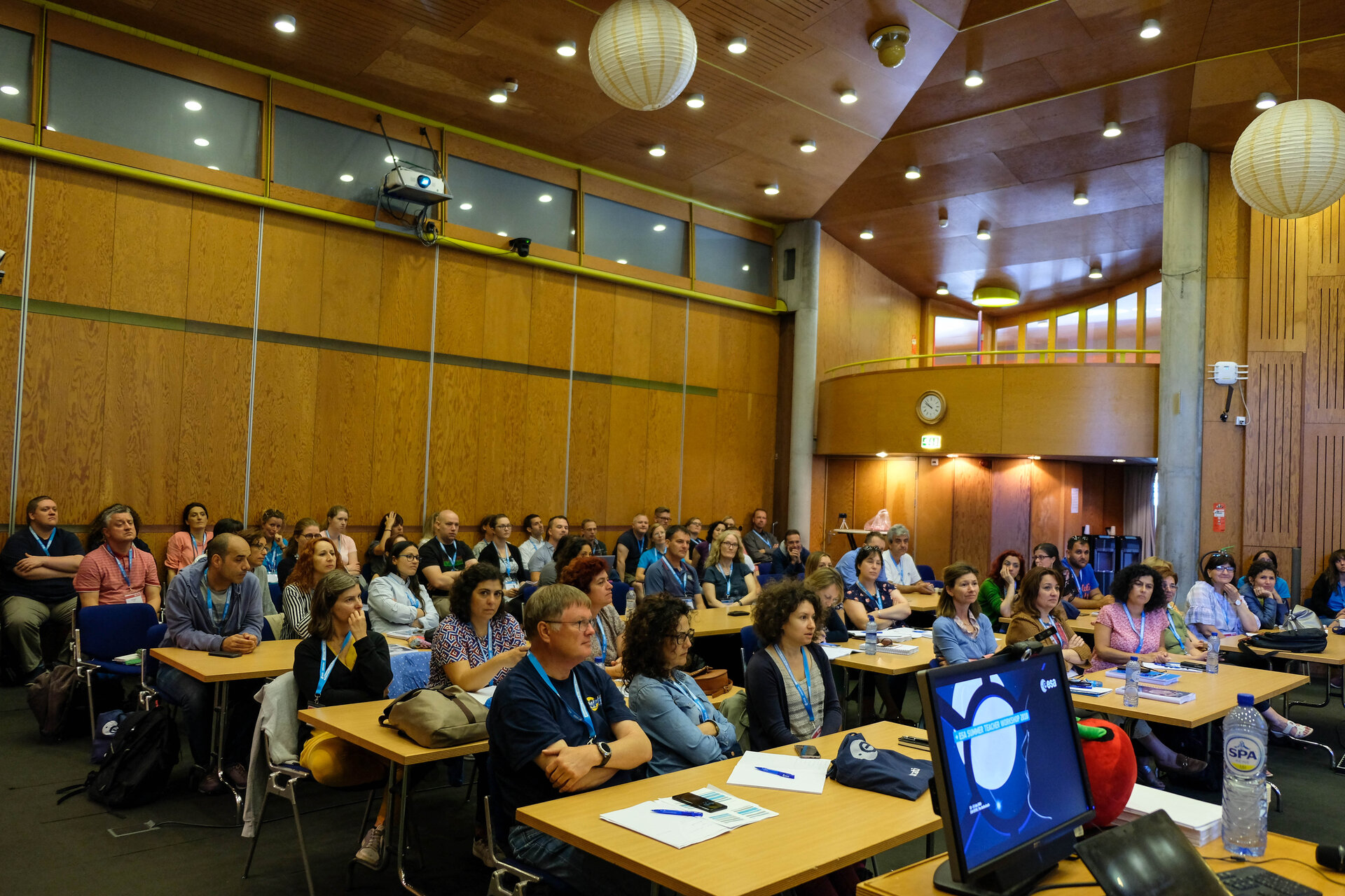 Teachers attending space-related keynote talks by ESA Experts