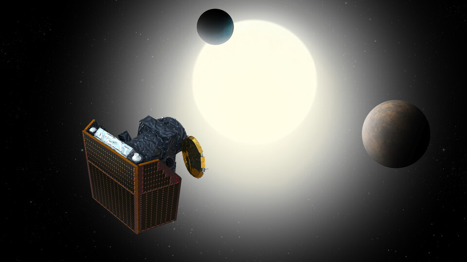 Artist's impression of Cheops and an exoplanet system