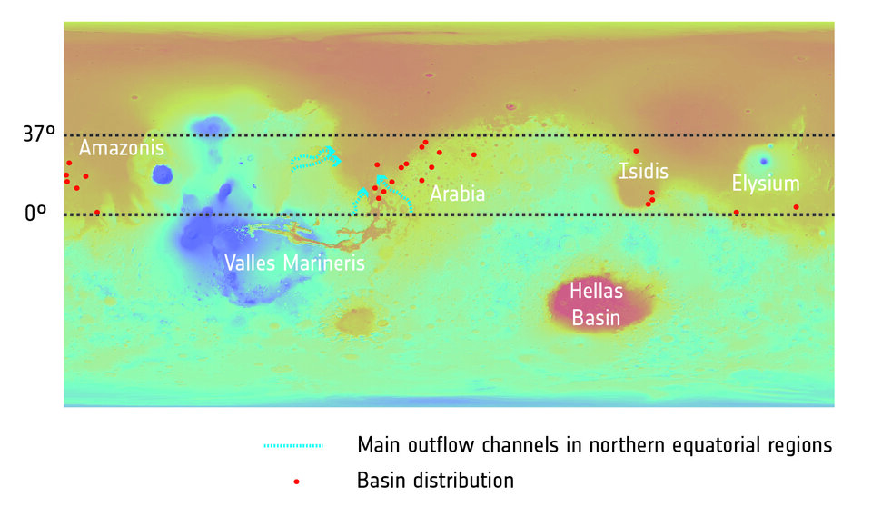 Distribution of once-watery basins on Mars