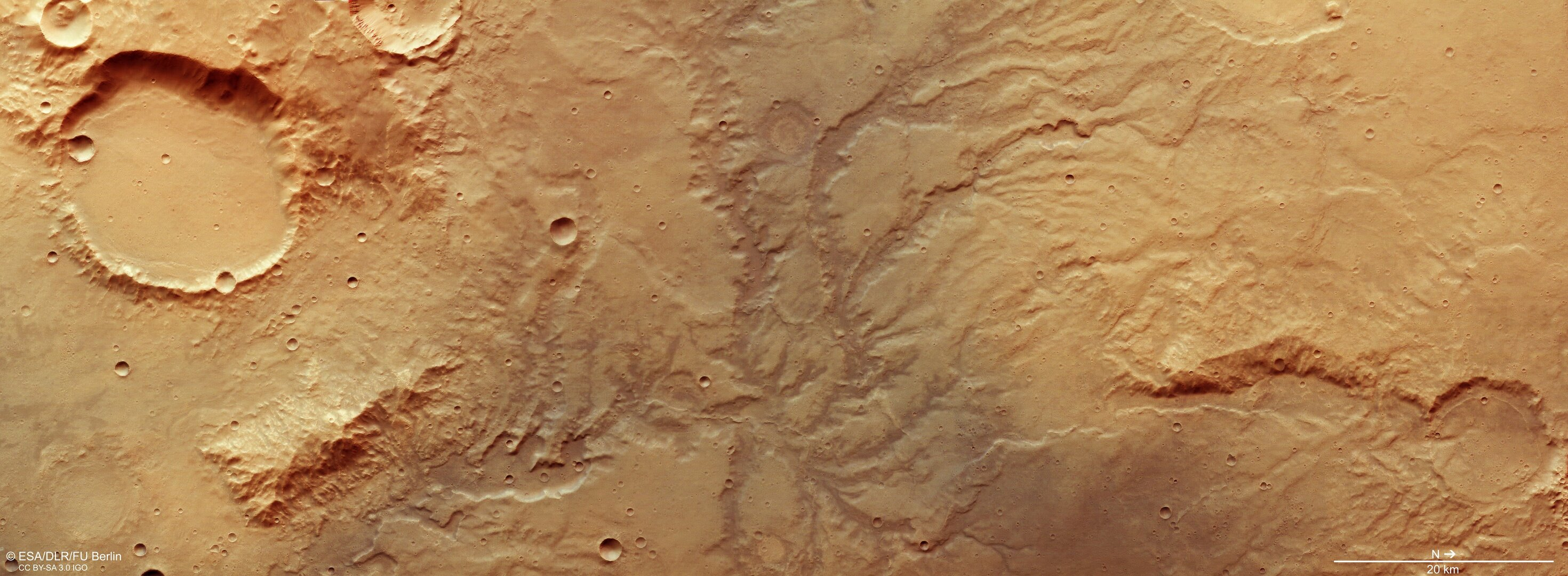 Dried out river valley network on Mars