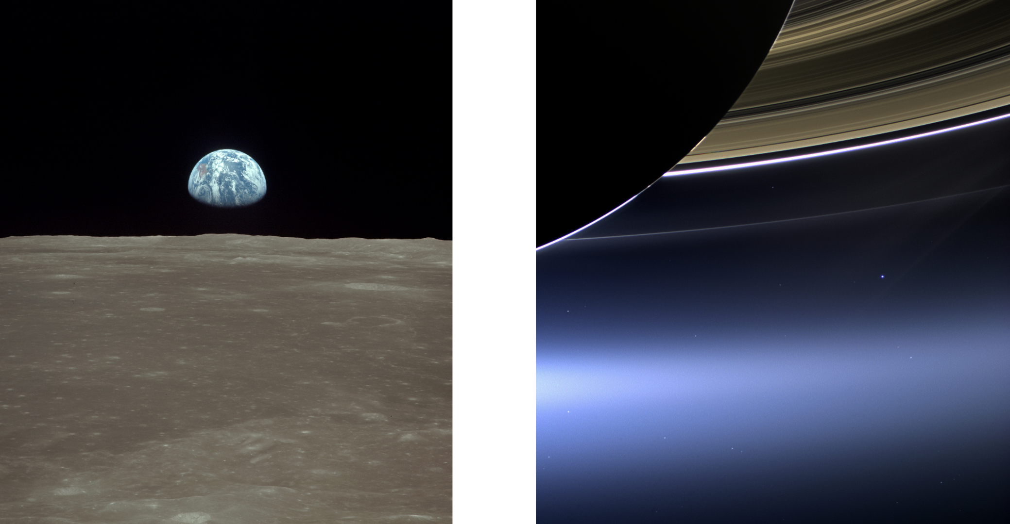 Earth seen from NASA's Apollo 11 and ESA's Cassini