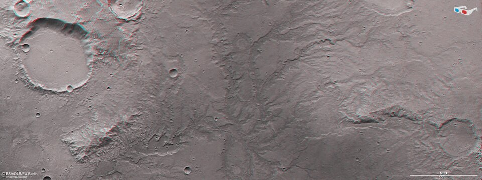 Mars river valley network in 3D